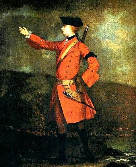 Major General James Wolfe.  A portrait of Wolfe painted after his heroics at Louisburg 1758 which secured him the command of the 1759 Quebec expedition. Dressed completely in scarlets, he sports no sword but intentionally slings a musket on his back.  The black armband is worn for his father, General Edward Wolfe,  who had passed away recently.