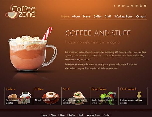 Template 013: Coffeezone Great template for a coffee shop or a blog #coffee #template #design #free #custom #website #blog