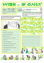 English worksheet: WISH / IF ONLY + PAST SIMPLE