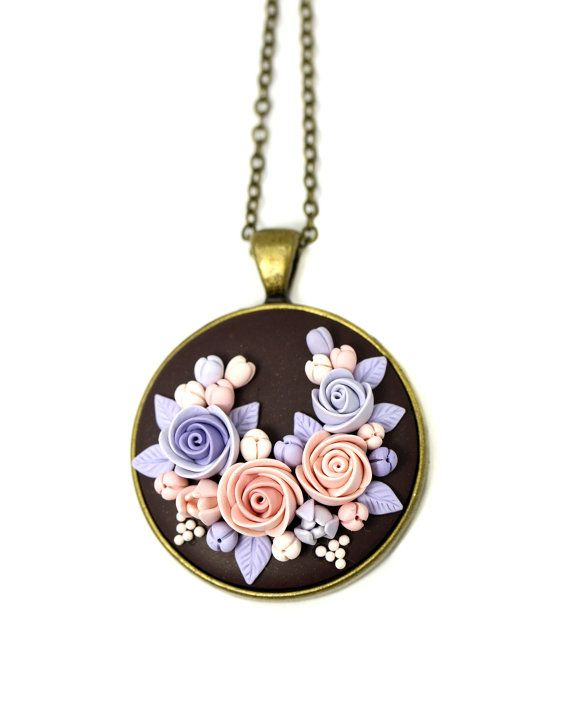 Floral Pendant Necklace Tender Floral Jewelry by KittenUmka