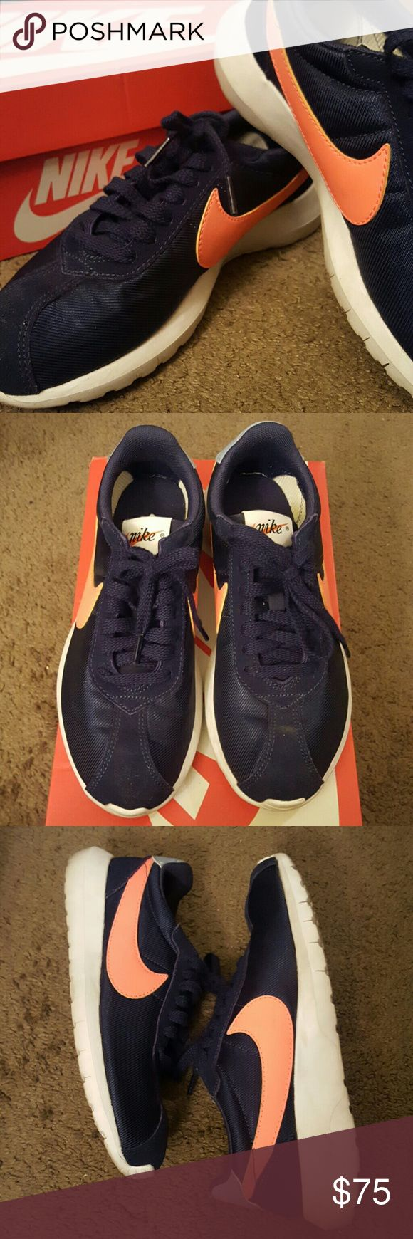 Navy Blue Nike Roshe LD-1000 size 7.5 Navy Blue Nike Roshe LD-1000 size 7.5. Nike swoosh is a coral pink. Gently worn a few times, no rips holes or stains! Comes with box.  Bundle and save! Nike Shoes Athletic Shoes