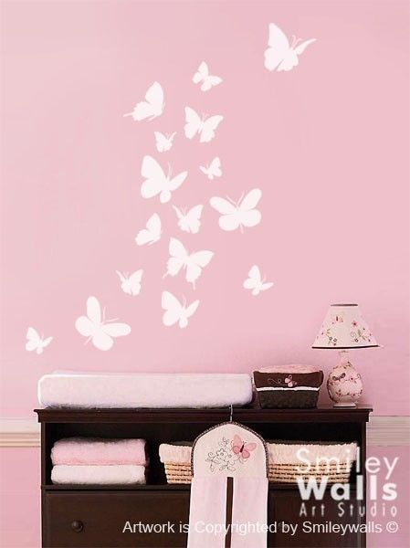 Wall decal Butterflies Set of 16 Nursery Kids Vinyl Wall Decal Baby Room  Decor Art.