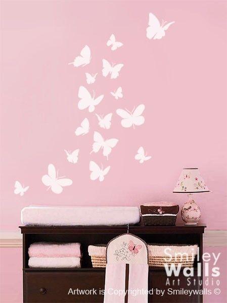 Wall decal Butterflies Set of 16 Nursery Kids Vinyl Wall Decal Baby Room Decor Art on Etsy, $21.75 AUD