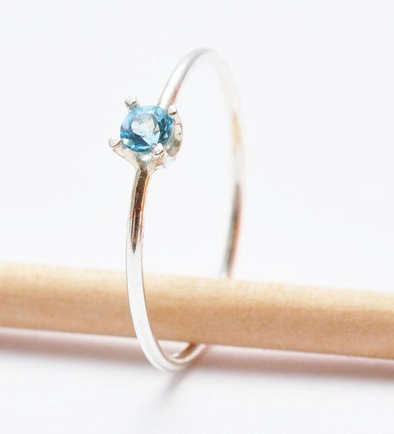 Blue Topaz Rings: Girls Purity Ring Swiss Blue by BlueRidgeNotions: