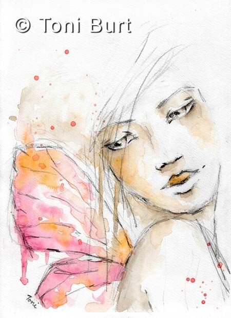 """""""spellbound"""" faery girl watercolour from my art journal - butterfly wings - fairy girl - watercolor"""