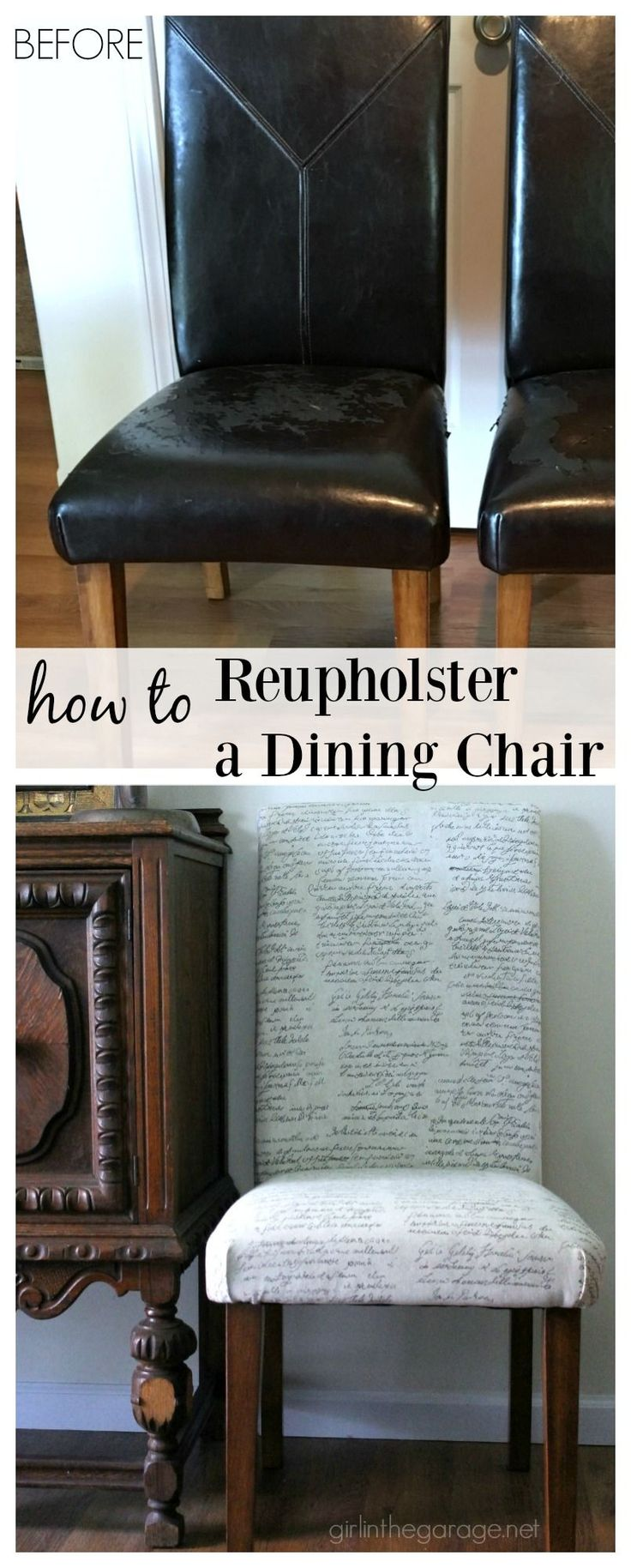 Reupholster DIY Dining Chair Makeover - Girl in the Garage                                                                                                                                                                                 More