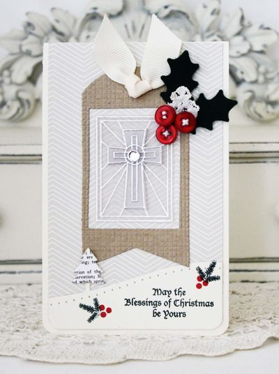 pop up cross with touches of christmas holly by melissa - beautiful!