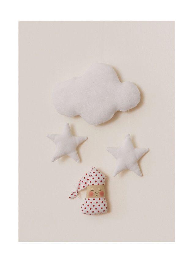 Kinderzimmerdekoration - süßes Mobile Traum - Wichtel, Sterne und Wolke - ein Designerstück von uggla-deko bei DaWanda