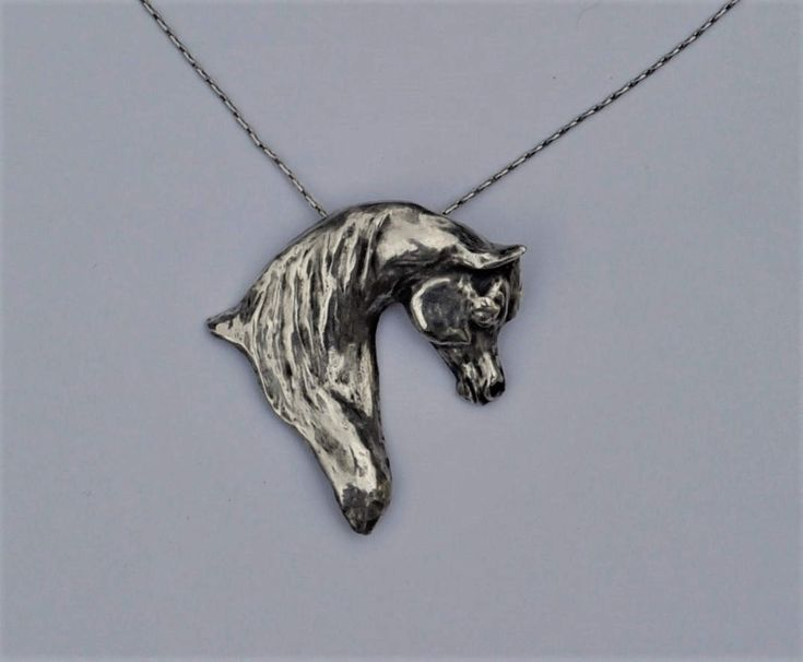 Fine Silver Arabian Horse Pendant Necklace Original Design Introductory Price by OriginalHorse on Etsy