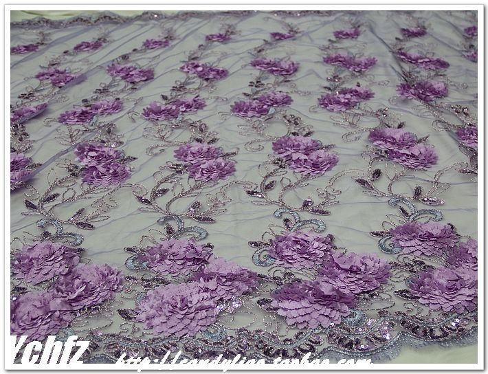 Approx $14 per metre. The Hem flower lace three-dimensional flowers 3D double flowers embroidered sequins gauze stage costumes DIY fabric fabrics - Taobao