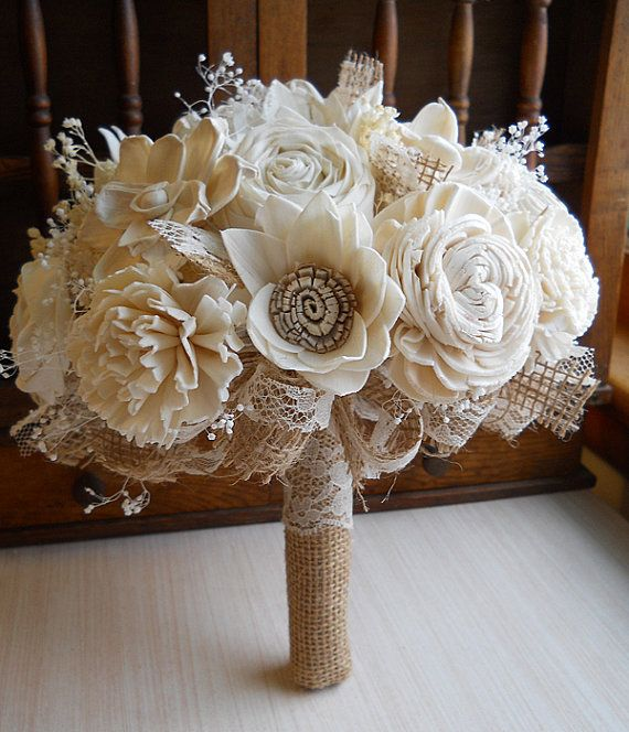 Will ship in 4 weeks ~~~ Rustic Shabby Chic Bouquet, Sola Flowers, Burlap, Lace…