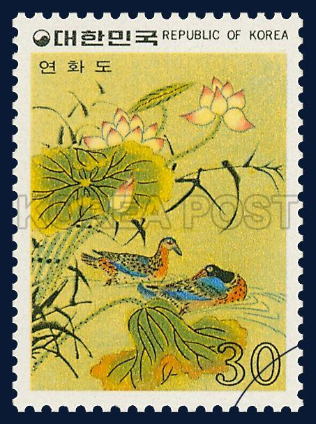 Postage Stamps of Folk Painting, Series(Ⅰ), a softening degree, Traditional Art, rainbow, Green, Blue, Orange, Pink, 1980 03 10, 민화 시리즈(제1집), 1980년 03월 10일, 1164, 연화도, Postage 우표