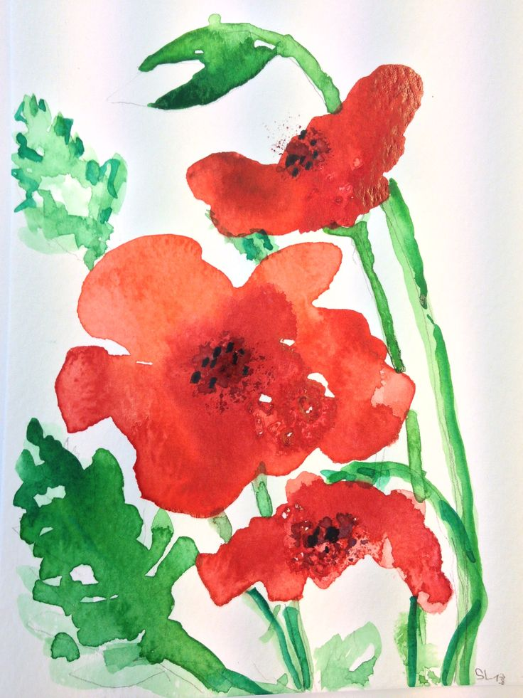 Klatschmohn, Aquarell,  gemalt mit Links