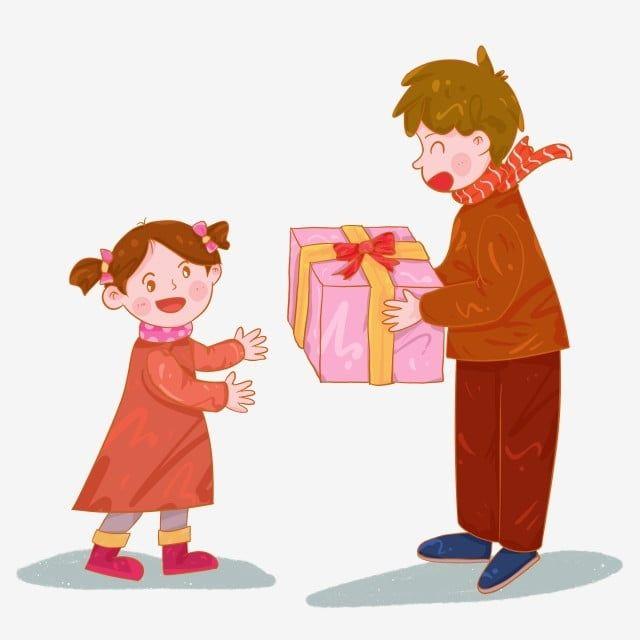 الأب فتاة الأب يعطي هدية عيد الربيع ابنة مهرجان تقليدي صيني من ناحية رسم الكرتون Png وملف Psd للتحميل مجانا Father And Girl Daughter Gifts Spring Festival