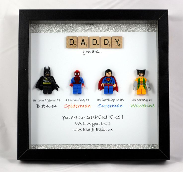 A personal favourite from my Etsy shop https://www.etsy.com/uk/listing/386148122/personalised-lego-style-superhero-frame