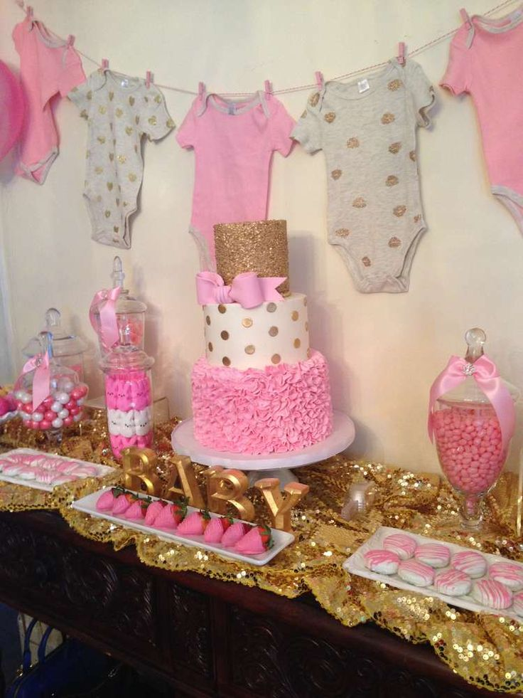Pink and gold baby shower party ideas baby shower for Baby shower decoration photos