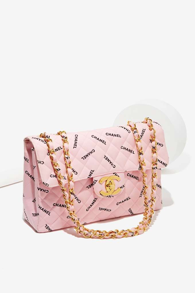 Classic Chanel Pink Jumbo Phrase Bag | Store Classic Goldmine No. 1 – Chanel at Nas…