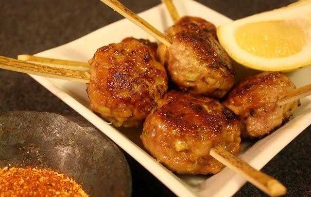 tsukune meatballswith teriyaki sauce.  harumi kurihara