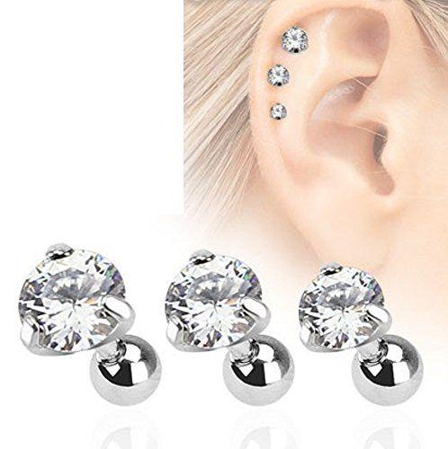 """Piercing de type """"barbell"""" conçu pour le cartilage et le tragus. Le piercing est en acier chirurgical, et il est serti d'un gemme de 3 mm de diametre. #Piercing #Bijoux"""