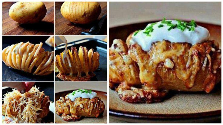 Lavate le patate con abbondante acqua e asciugatele. Infilzate due spiedini nella patata, nella parte inferiore! Gli spiedini servono a non tagliare la patata sino in fondo. Con l'aiuto di un coltello tagliate la patata in tante strisce, sino a toccare lo spiedino che si trova in fondo. Ora possiamo riempire le patate a nostro…