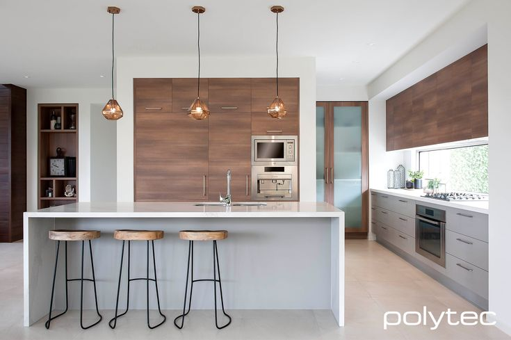 Fantastic looking kitchen display of polytec doors and panels in Sepia Oak Ravine and Stone Grey Sheen from http://www.boutiquehomes.com.au/