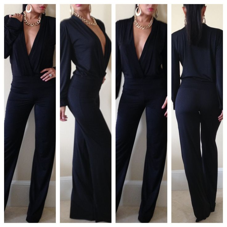 Black Drape Pant Jumpsuit - Outfits