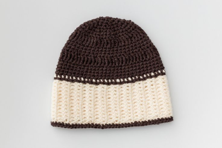 Crochet Baby Hat, Ready to Ship,Unisex Baby Hat,Brown and Cream,Baby,Hat,White…