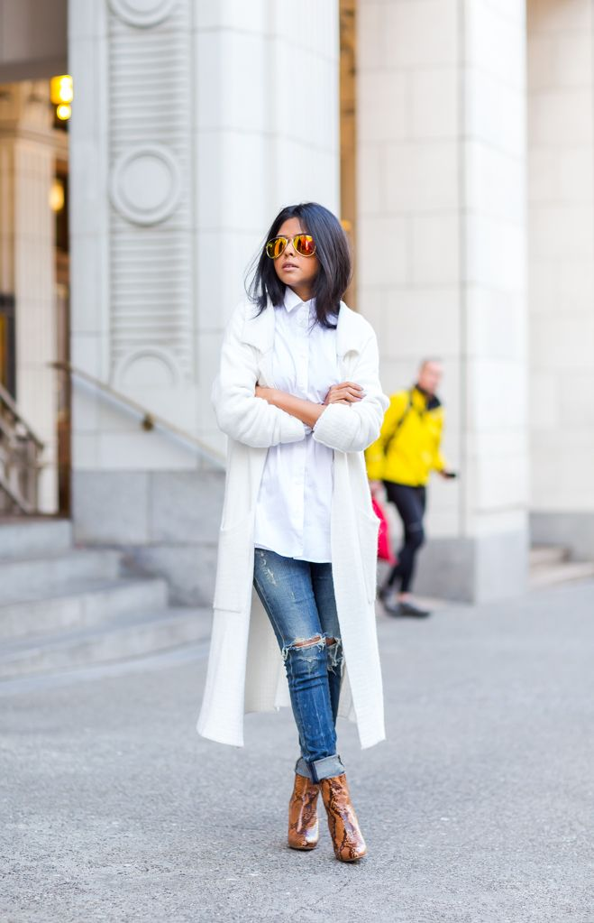 Long white coat + white button up blouse + ripped jeans + brown snakeskin print boots