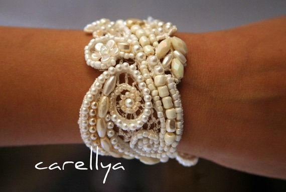 Beaded Pearls Bracelet Vintage Lace Beaded Cuff - would this be too much with a vintage bouquet?