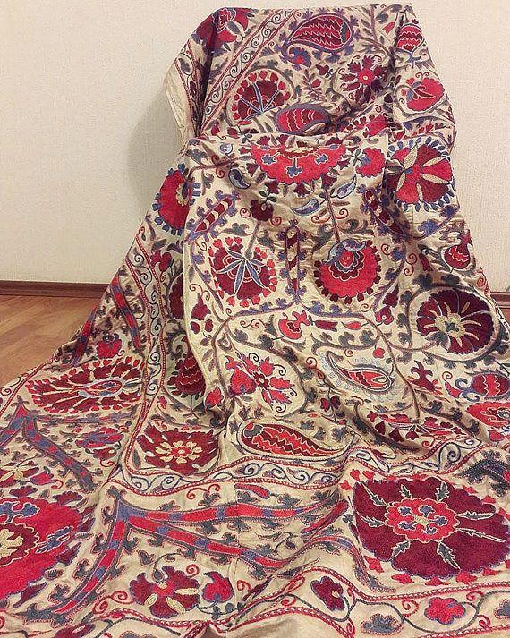 FREE SHIPPINGSilk on silk embroidery handmade Suzani from