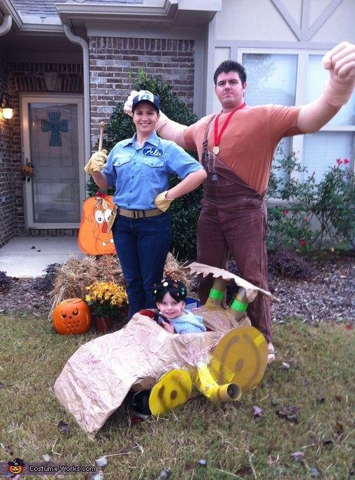 DIY Wreck-It Ralph Characters - little girl is Vanellope Von Schweetz, Dad is Wreck-it-Ralph, and Mom is Fix-it-Felix, Jr.