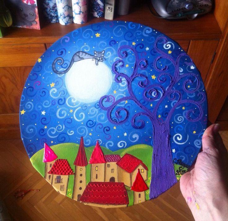 El Gato en la Luna  Acrilico y mix media  Pedidos y más cuadros en mi Facebook Cuadritos de Colores y en mi blog www.miscuadritosdecolores.blogspot.com