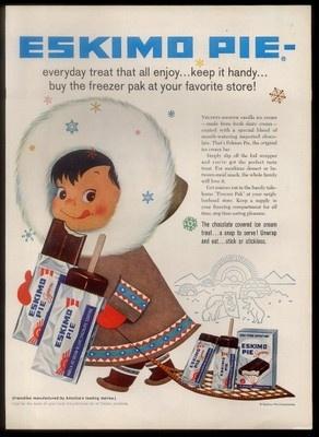 1958 Cute Eskimo Kid Polar Bear Family Art Eskimo Pie Ice Cream Treat Print Ad | eBay