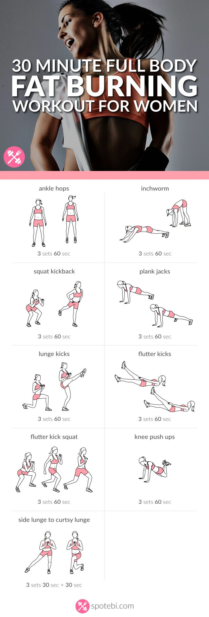 Burn extra calories with this 30 minute full body fat burning workout routine. A…