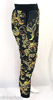 KAYDEN K sublimation print mens jogger pants Graphic Gold Flowers S - XL