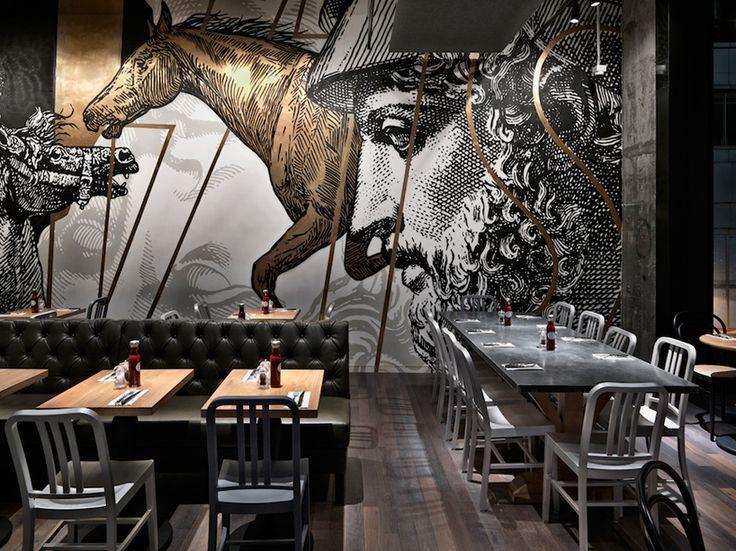 쇠고기와 자유 미식가 햄버거 레스토랑 홍콩 스핀 오프 디자인 붐
