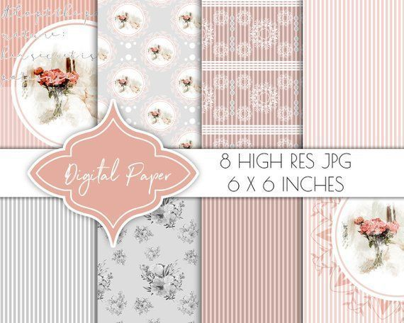 Digital paper, romantic blush watercolor scrapbook papers, digital paper pack, vintage planner clipart, floral collage, gift wrapping