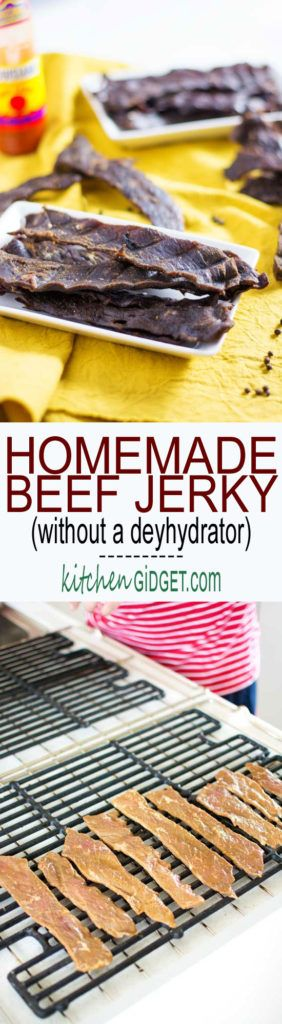 Homemade Oven Beef Jerky, no special equipment needed! Two beef jerky marinade recipes included! | Kitchen Gidget