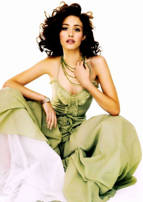Emmy Rosum -Google Image result for emmy rossum wearing khaki green gown with white.