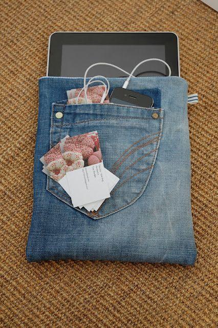 Housse pour tablette avec poche à partir d'un vieux jeans. 52 façons créatives pour recycler vos vieux jeans