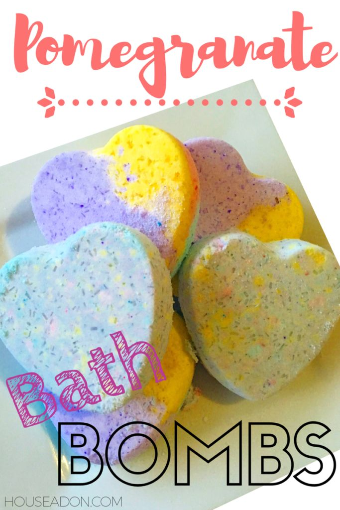These DIY Bath Bombs by houseadon.com are fun and fruity filled with Pomegranate and Jasmine