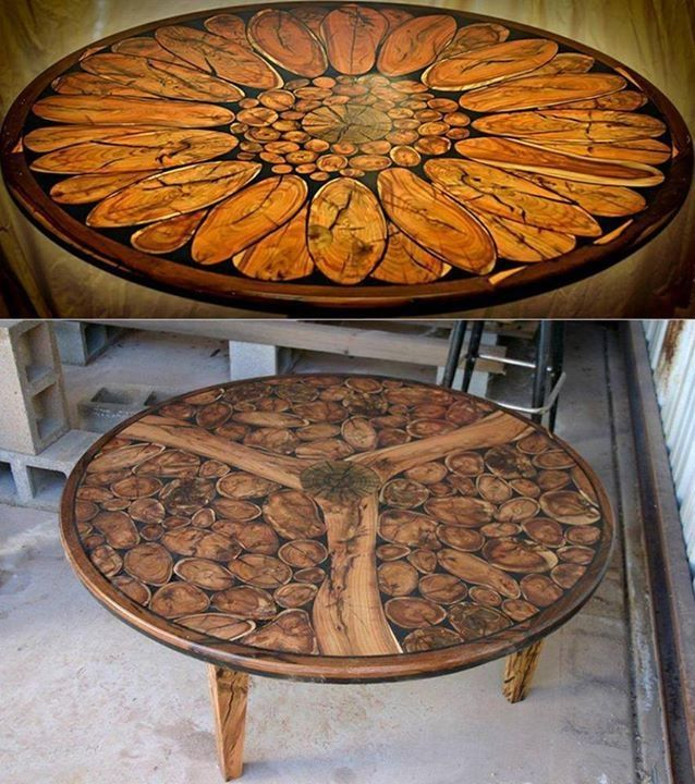 Log resin table flower