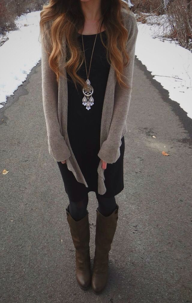 Fall outfit! Neutral long cardigan with a black dress, leggings, boots and a long necklace