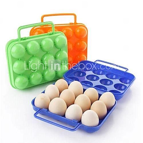 12 ciñe cajas de huevo de plástico (color al azar) - USD $ 4.99