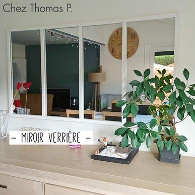 Miroir atelier verrière horizontale rectangulaire en métal blanc Bricklane decoclico Factory