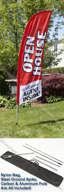 "Advertising Flag w/ Red ""OPEN HOUSE, WELCOME! AGENT INSIDE!"" It will be hard to miss this sign... and its so easy to set up!!"