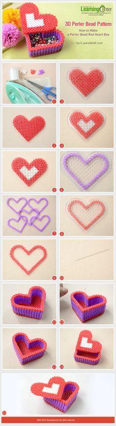 3d Perler Bead Pattern-How to Make a Perler Bead Red Heart Box