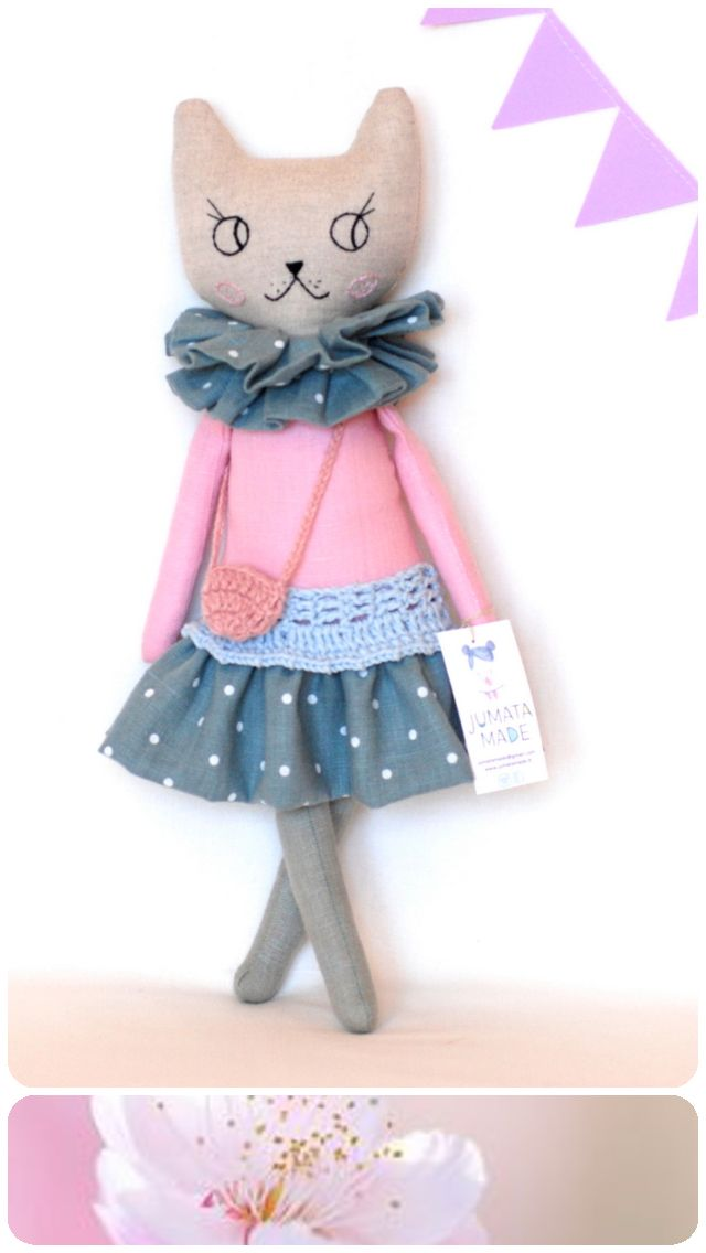 Pink modern cat cloth doll, cat rag doll. Hand made stuffed cat toy, linen kitty, heirloom doll, soft fabric animal, made to order, jumata