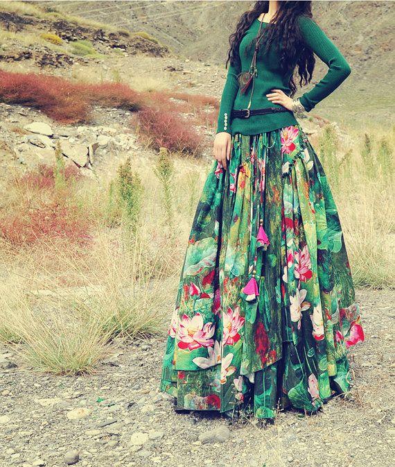 boho skirt Cotton linen extra large hem Lotus by Lemontree2013