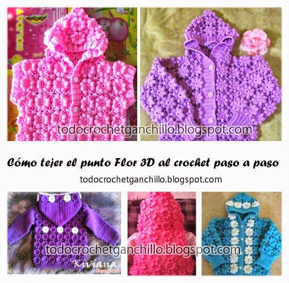 Todo crochet c mo tejer el punto flor 3d paso a paso en - Como empezar a hacer punto paso a paso ...